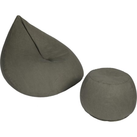 Grey Beanbag Large Tear & Ottoman Pack