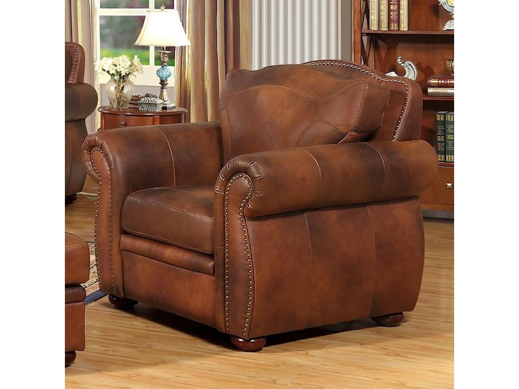 Arizona Traditional Leather Chair by Leather Italia USA at Fashion Furniture