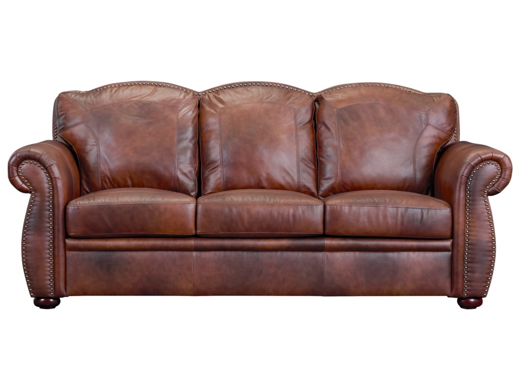 Arizona Traditional Leather Sofa by Leather Italia USA (Beaverton Store  Only) at Gallery Furniture