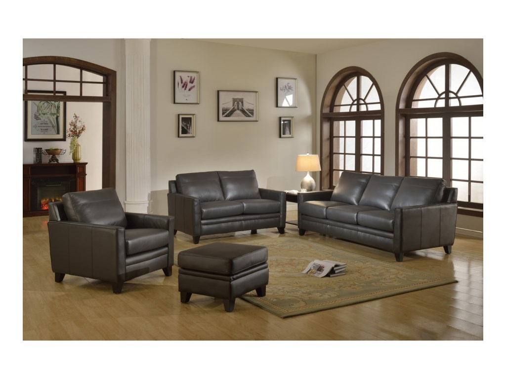 Leather Italia USA FletcherLeather Living Room Group