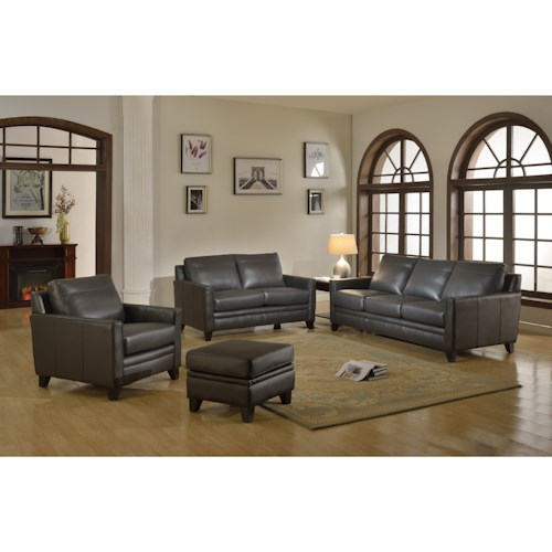 Leather Italia USA Fletcher Leather Living Room Group