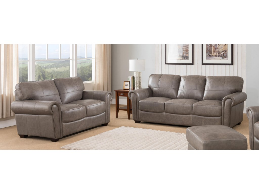 Branson 2 Piece 100% Leather Stone Living Room Set by Leather Italia USA at  Sam Levitz Furniture