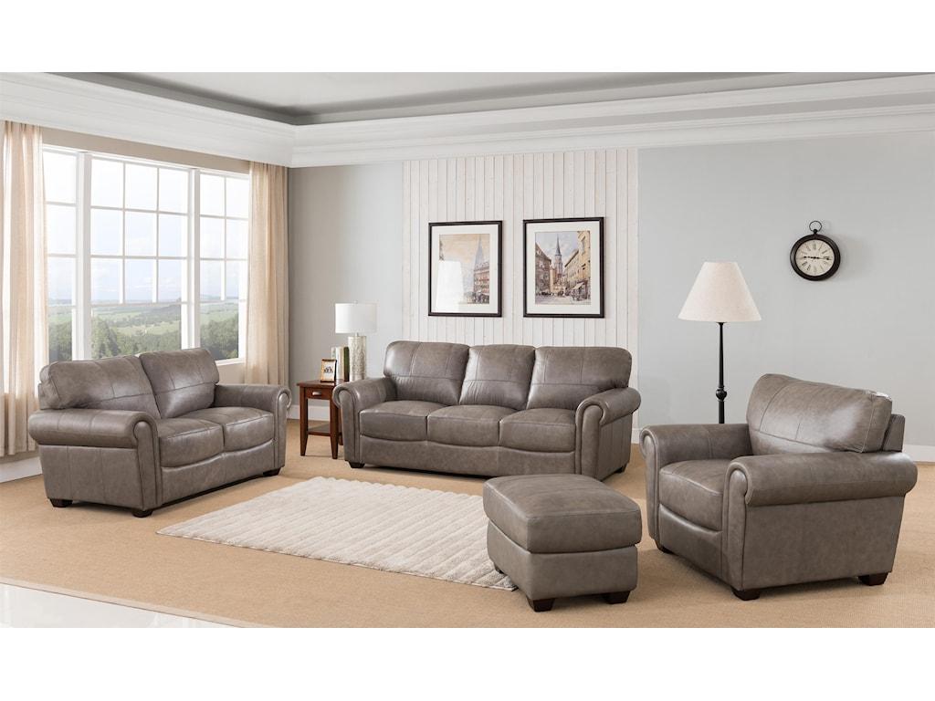 Branson 4 Piece 100% Leather Stone Living Room Set by Leather Italia USA at  Sam Levitz Furniture