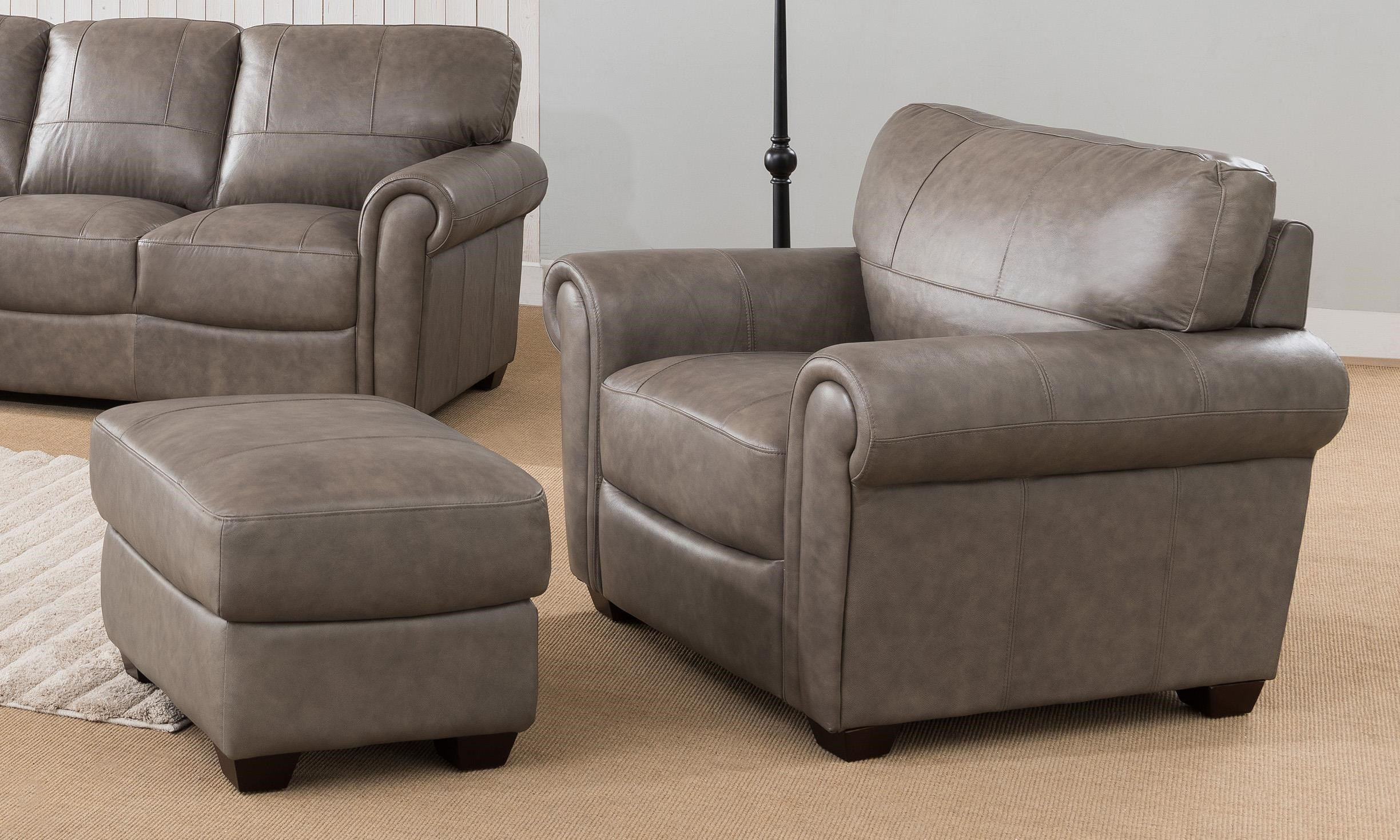 Branson 100 Leather Chair And Ottoman