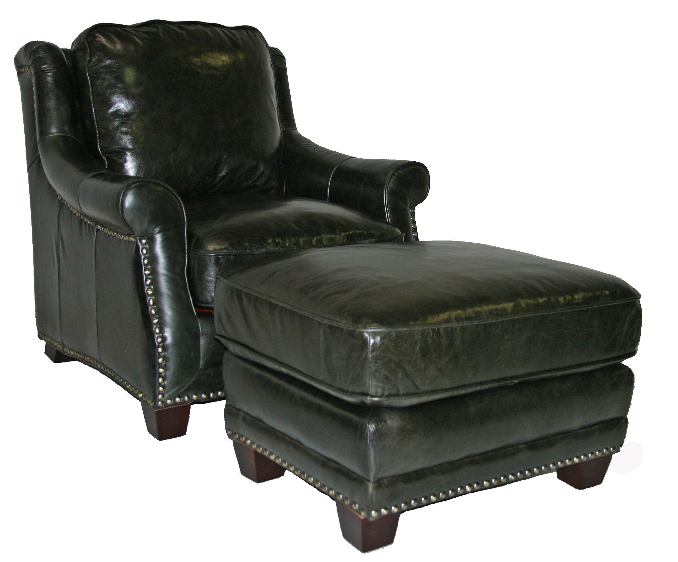 Beau Leather Italia USA Buchanan Traditional Chair U0026 Ottoman Set