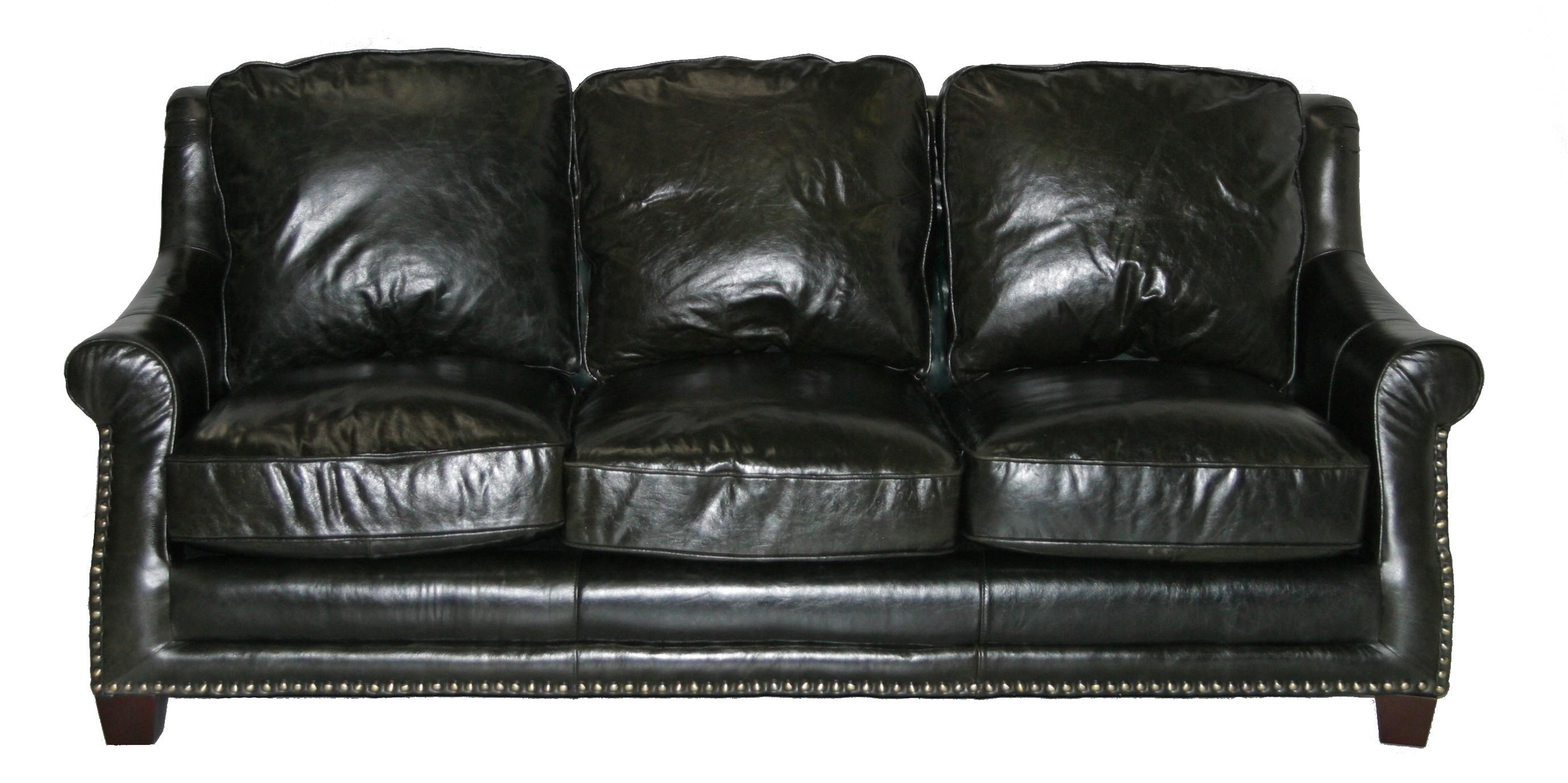 Leather Italia USA Buchanan Traditional Leather Sofa W/ Nailhead Trim