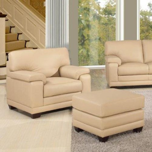 Leather Italia USA Carlisle Casual-Contemporary Chair and Ottoman with Wood Feet