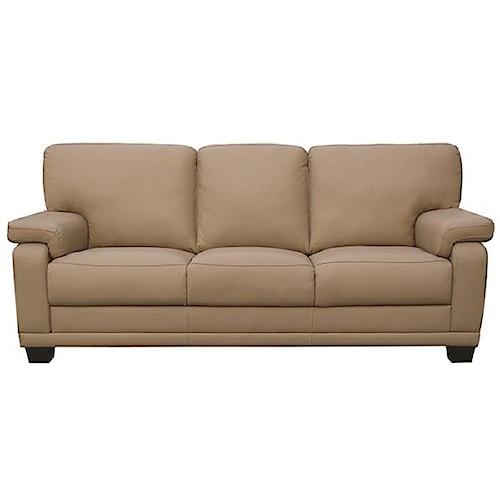 Leather Italia USA Carlisle Casual-Contemporary Sofa with Saddle Bag Arm