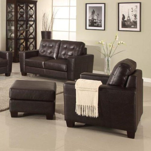 Leather Italia USA Compton Contemporary Chair and Ottoman with Block Wood Feet