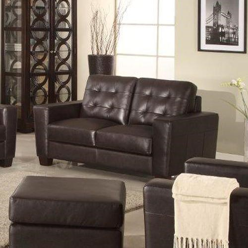 Leather Italia USA Compton Contemporary Loveseat with Tufting