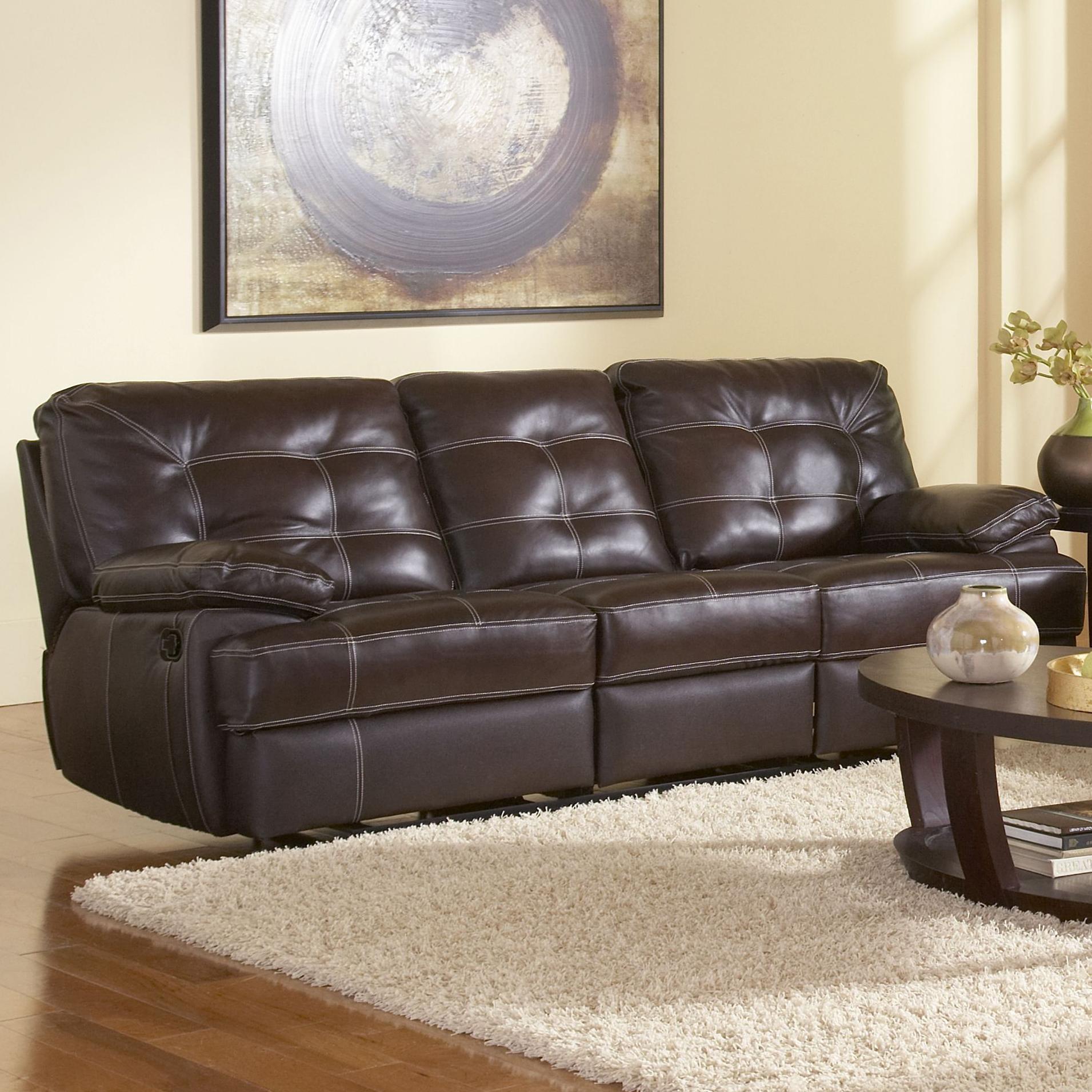 Leather Italia USA Dalton Contemporary Reclining Sofa With Contrast  Stitching