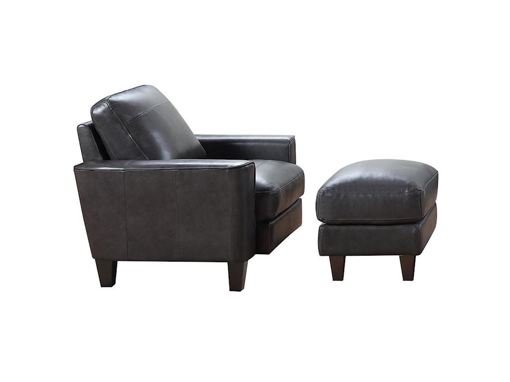 Leather Italia USA Georgetown - ChinoChair and Ottoman Set