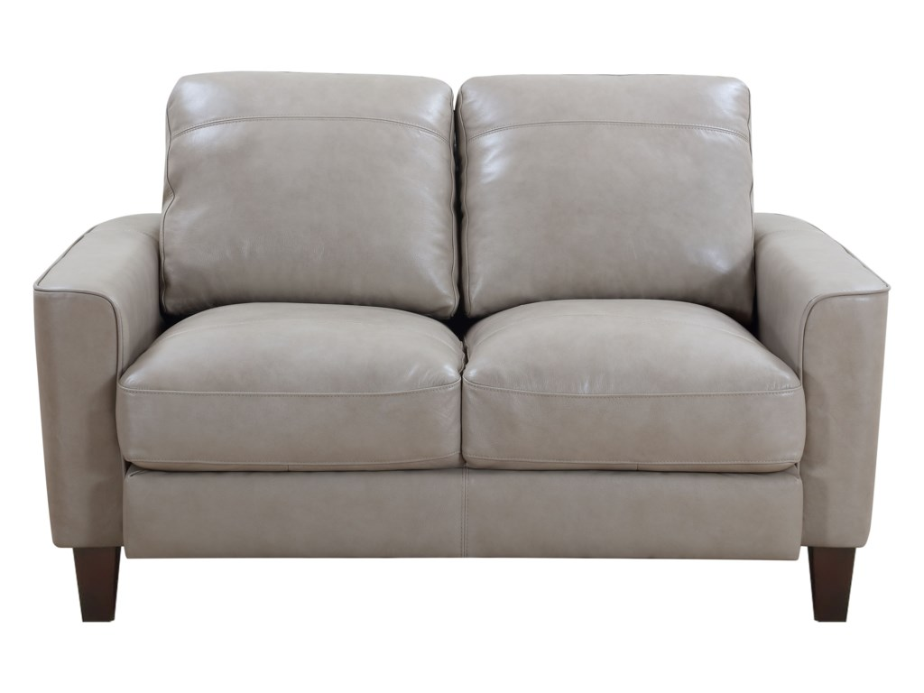 Georgetown - Chino Contemporary Leather Loveseat with Exposed Wood Legs by  Leather Italia USA at Sam Levitz Furniture