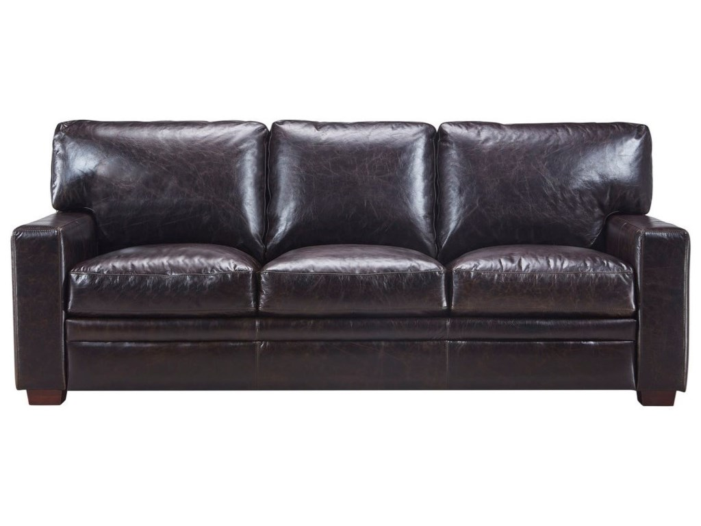 Georgetown Norman Transitional Leather Sofa With Track Arms By Italia Usa Beaverton Only