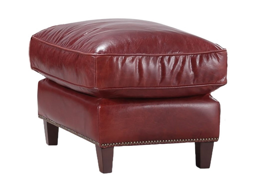 Georgetowne Oakridge Leather Ottoman With Nailhead Trim By Italia Usa At Lindy S Furniture Company