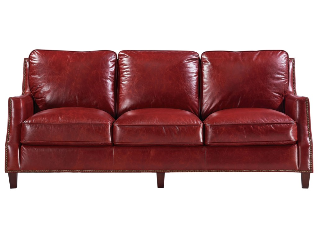 Georgetowne - Oakridge Transitional Leather Sofa with Nailhead Trim by  Leather Italia USA at Lindy\'s Furniture Company