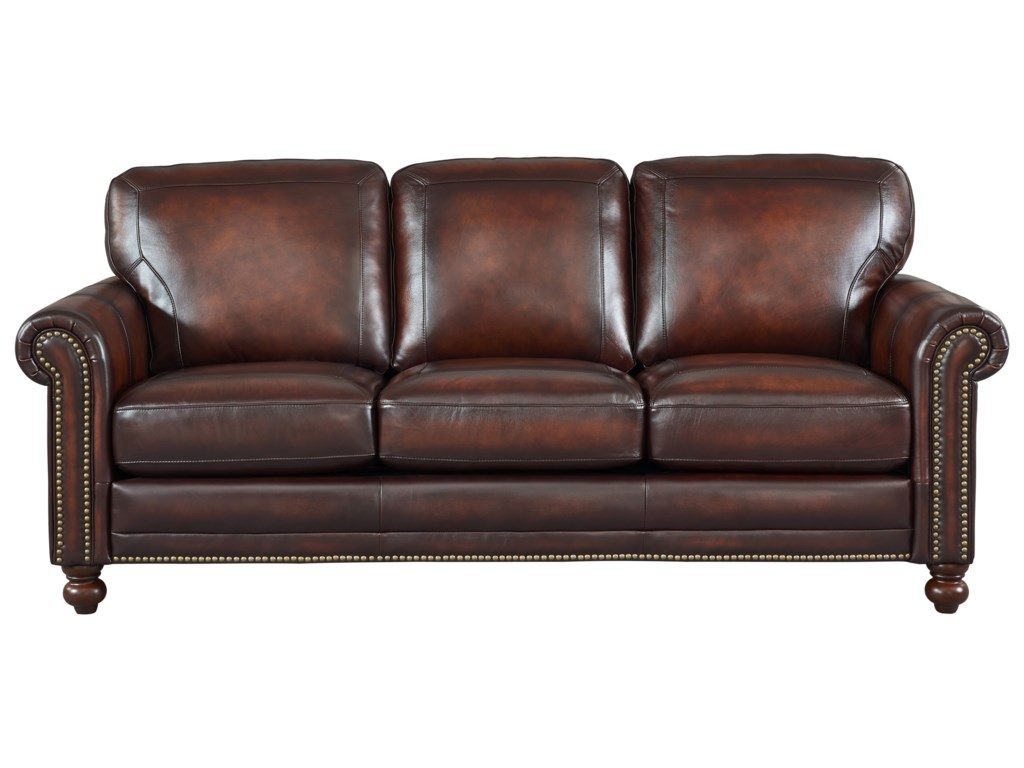 Westin Leather Sofa W Roll Arms Nailhead Trim By Italia Usa At Rotmans