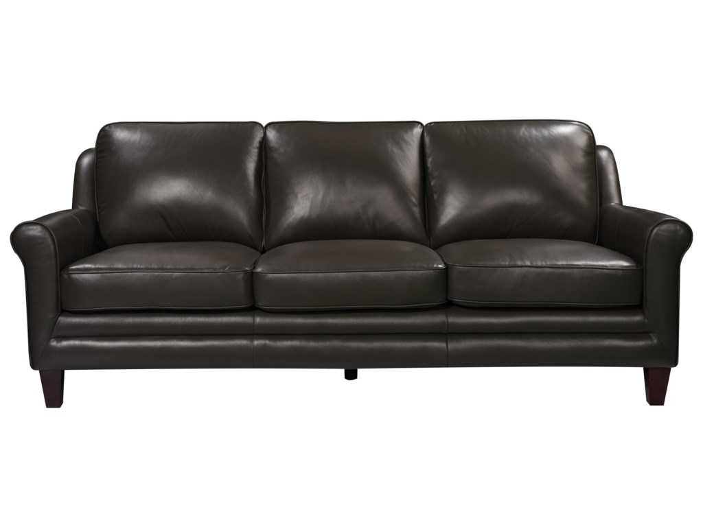 Leather Italia USA Grandover Transitional Leather Sofa | Wayside ...
