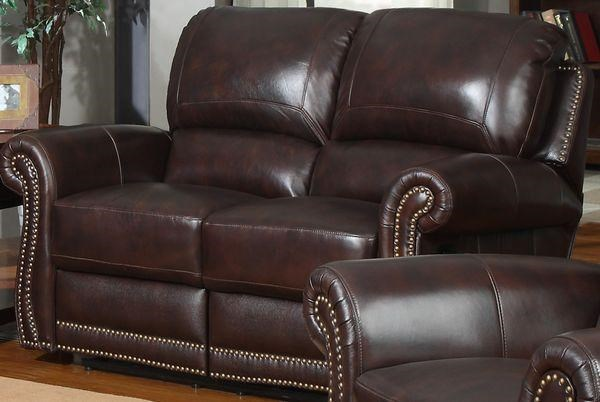 Leather Italia USA James Traditional Leather Motion Loveseat With Rolled  Arms And Nailhead Trim