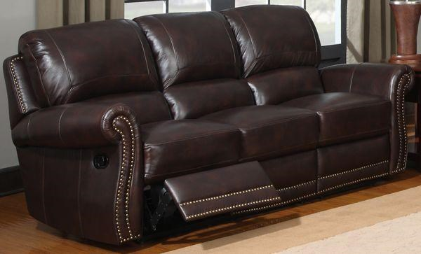 Leather Italia USA James Traditional Leather Motion Sofa With Rolled Arms  And Nailhead Trim