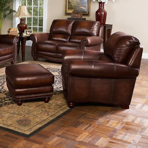 Leather Italia USA James Traditional Leather Chair and Ottoman with Nailhead Trim