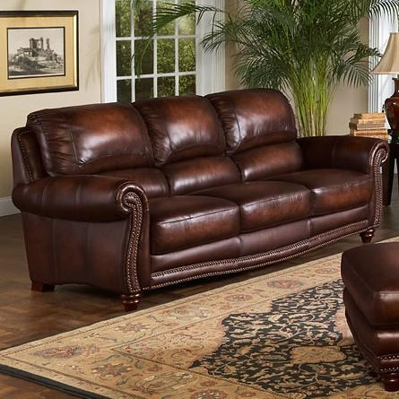 Attractive Leather Italia USA James Traditional Leather Sofa With Rolled Arms And  Nailhead Trim