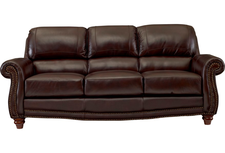 James Traditional Leather Sofa with Rolled Arms and Nailhead Trim by  Leather Italia USA at Lapeer Furniture & Mattress Center