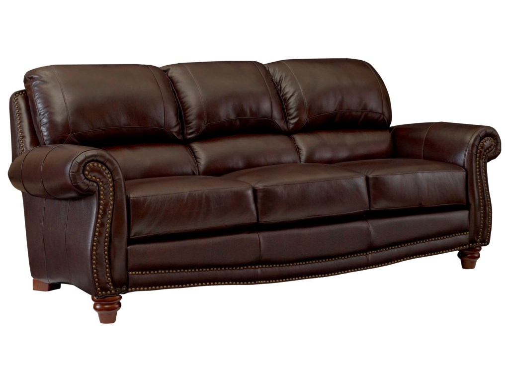 James Traditional Leather Sofa with Rolled Arms and Nailhead Trim by  Leather Italia USA at Fashion Furniture