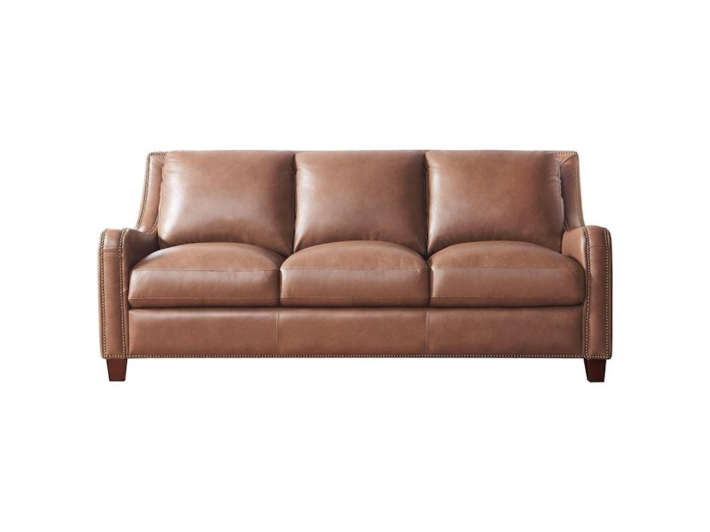 Leather Italia USA Napa Transitional Sofa with Nailhead Trim ...