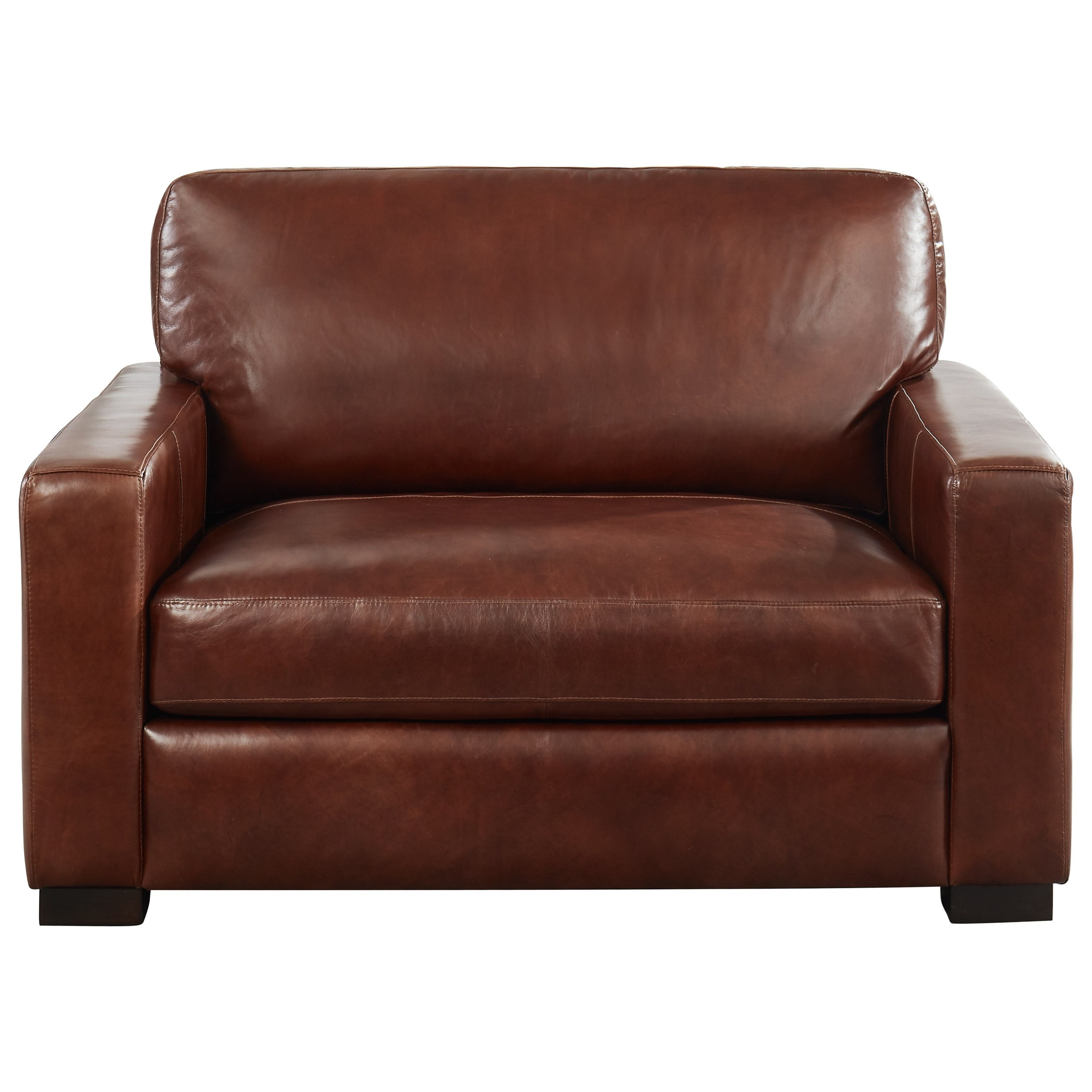 Leather Italia USA Randall Contemporary Leather Chair And 1/2 With Extra  Deep Seat