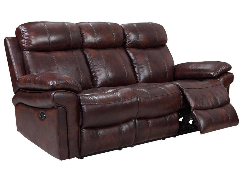 Janis Power Reclining Leather Sofa by Leather Italia USA at Rotmans