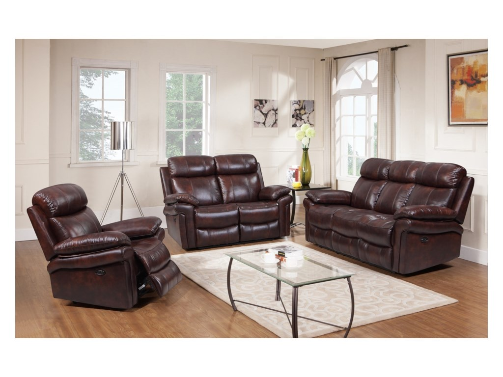 Leather Italia USA Shae - JoplinPower Reclining Leather Sofa
