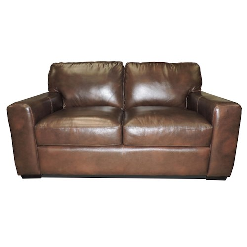 Leather Italia USA Woodburn Love Seat with Track Arms