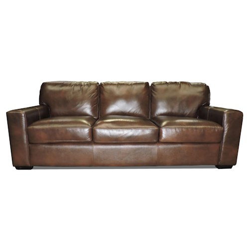 Leather Italia USA Woodburn Three Seat Cushion Sofa w/ Track Arms