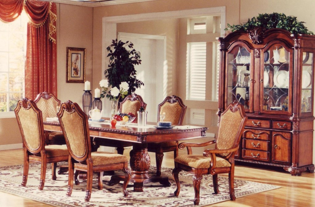lee furniture tbl005 7-piece traditional warm walnut dining table