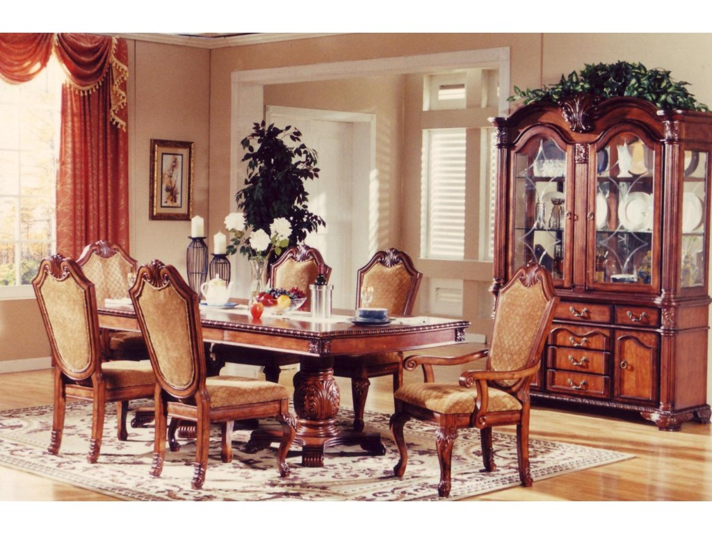 Furniture TBL005 7 Piece Dining Set Shown With China Cabinet