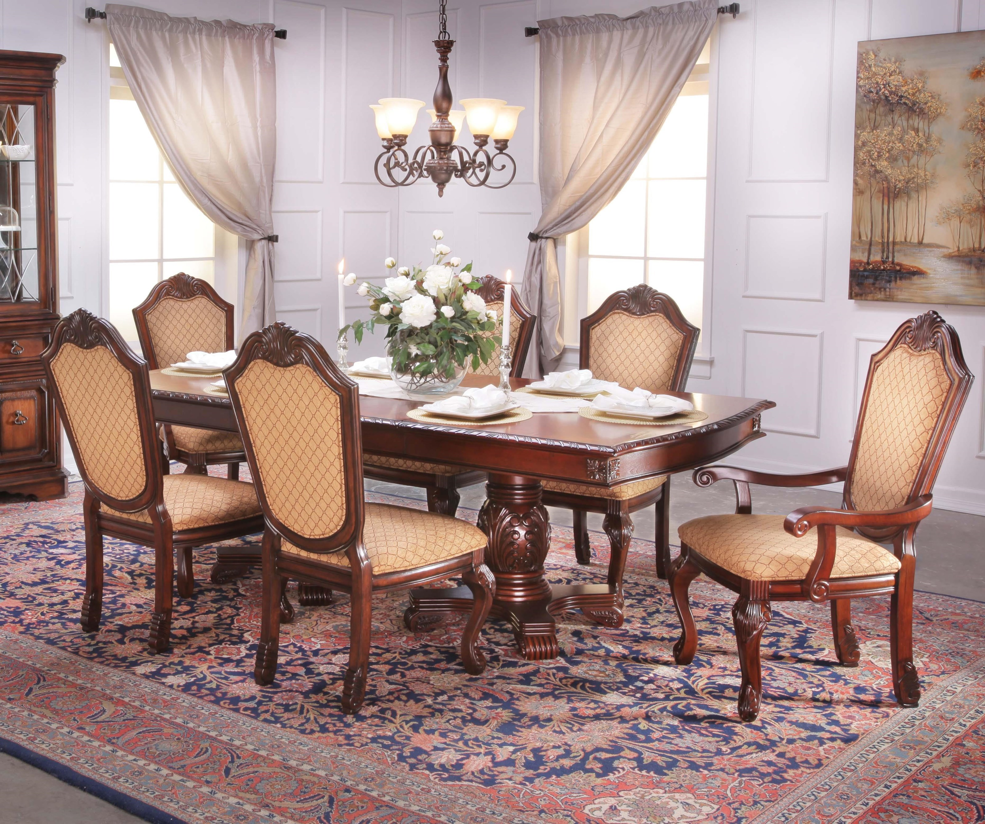 Lee Furniture TBL0057-Piece Dining Set ... & Lee Furniture TBL005 7-Piece Traditional Warm Walnut Dining Table ...