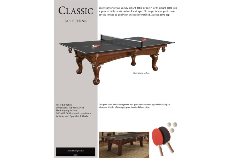 Game Room Fun Classic Table Tennis Top By Legacy Billiards At Northeast Factory Direct