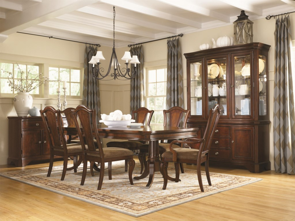 Shown with Dining Arm Chair, Double Pedestal Dining Table, Credenza, Buffet Base and China Hutch