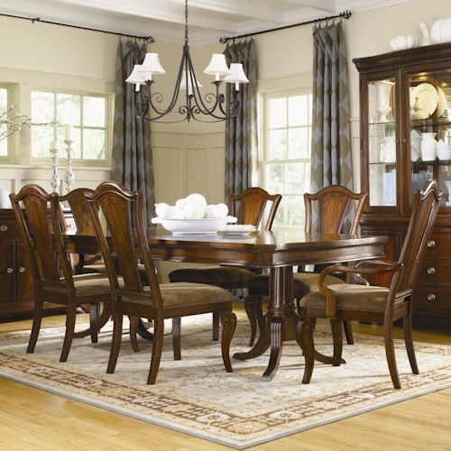 Legacy Classic American Traditions 7-Piece Double Pedestal Table Set w/ 2 Arm Chairs & 4 Side Chairs