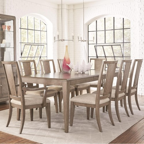 Legacy Classic Apex 9 Piece Rectangular Table and Chair Set with Leaf