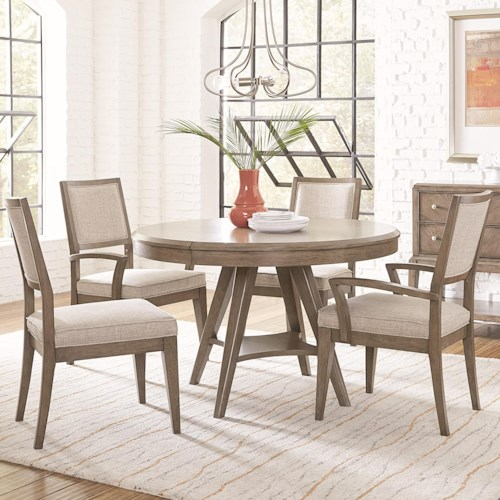 Legacy Classic Apex 5 Piece Round Table and Chair Set with Leaf