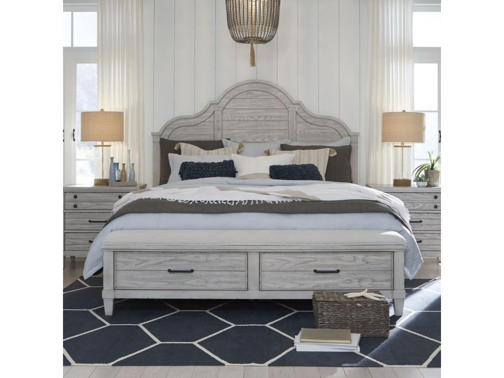 Legacy Classic BelhavenQueen Arched Panel Bed with Storage Ftbd