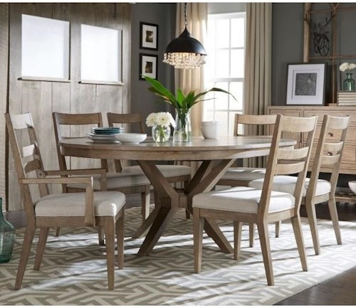 Legacy Classic Bridgewater 7 Piece Round Table Set w/ Slat Back Chairs