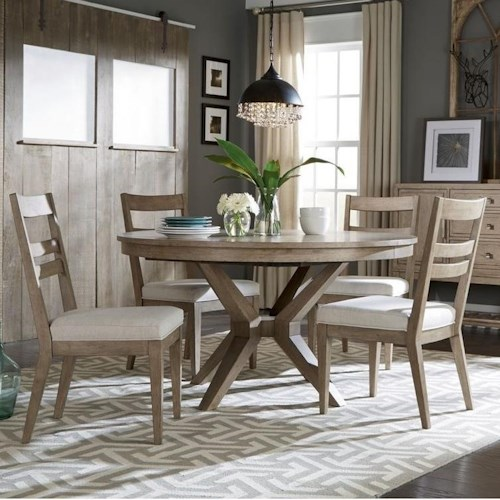 Legacy Classic Bridgewater 5 Piece Round Table Set w/ Slat Back Chairs