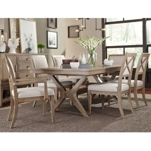 Legacy Classic Bridgewater 7 Piece Trestle Table Set w/ Upholstered Chairs