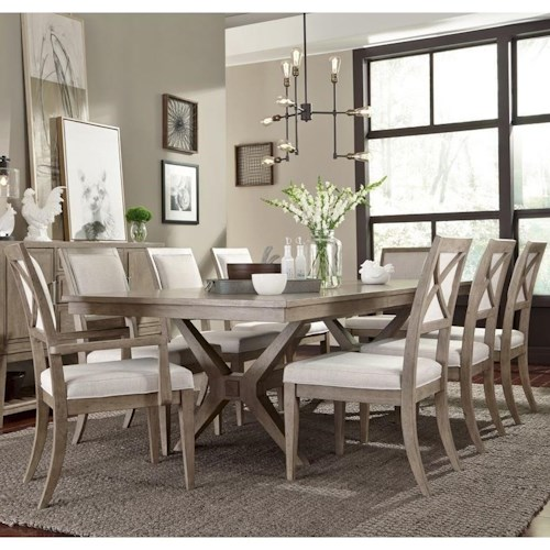 Legacy Classic Bridgewater 9 Piece Trestle Table Set w/ Upholstered Chairs