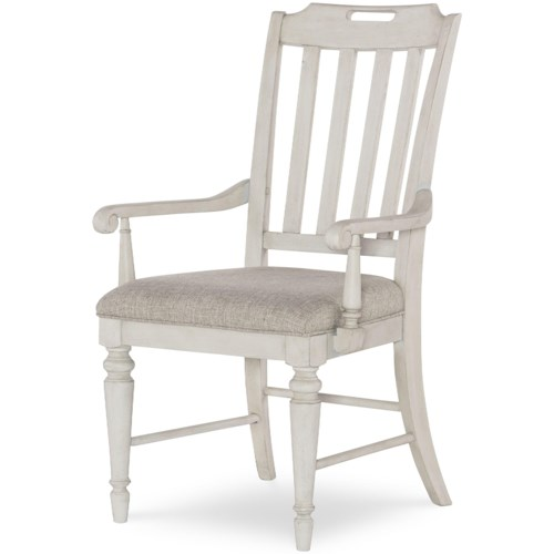 Legacy Classic Brookhaven Slat Back Arm Chair with Upholstered Seat