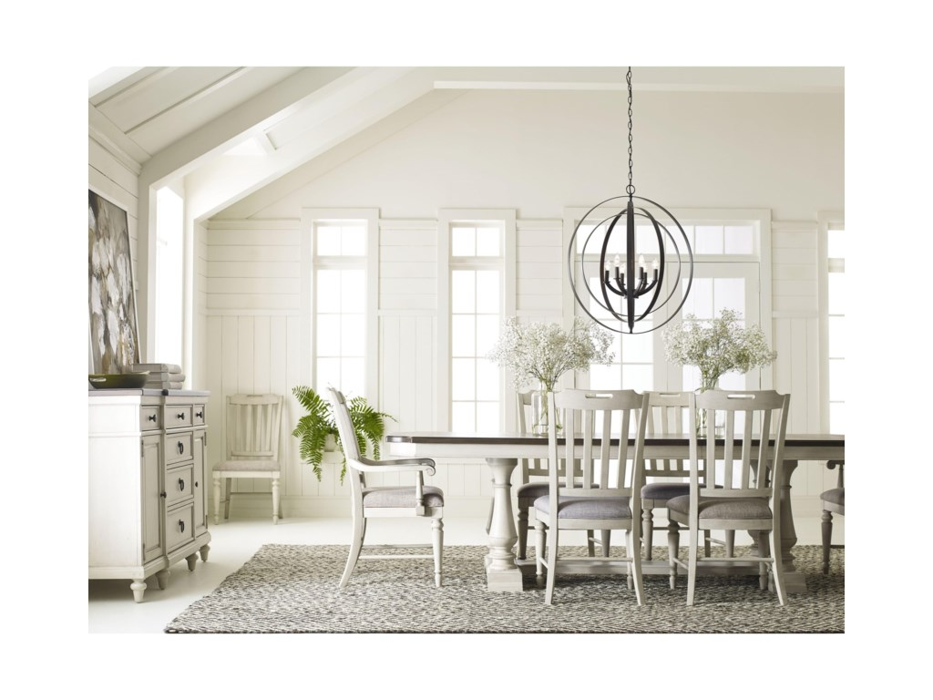 Legacy Classic Brookhaven 6400-622K Trestle Table with 2 Leaves ...