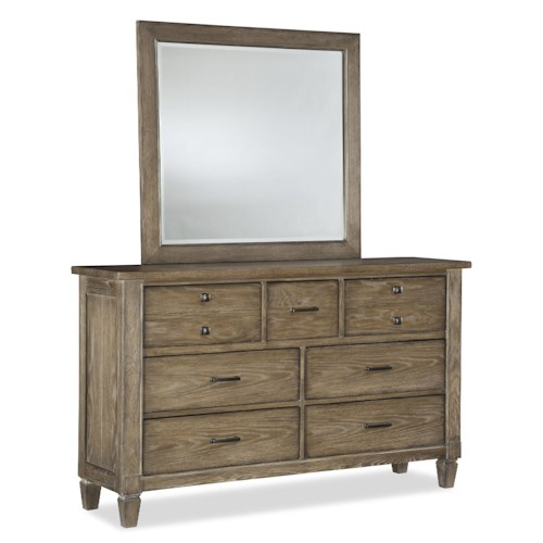Legacy Classic Brownstone Village 7 Drawer Dresser and Mirror Set